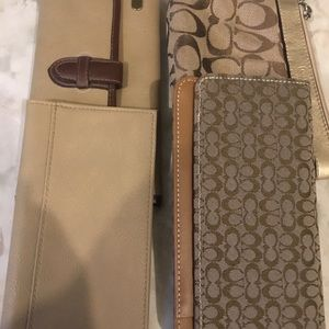 Wallet, Coach wristlet, and checkbook holders